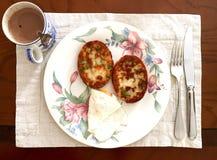 Typisches einfaches selbst gemachtes australisches Frühstück Stockbild