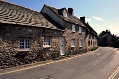 Typisches englisches Dorf von Corfe-Schloss, England lizenzfreies stockbild