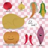 Typisches festliches Danksagungstruthahn- und Gemüsekochen Etwas ingridients mit Lächeln Lässt Kochphrase Vektor Lizenzfreies Stockfoto