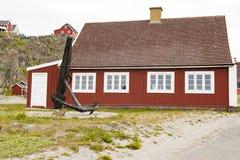 Typisches Greenlandic Holzhaus lizenzfreies stockbild