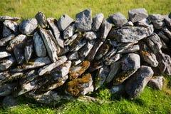 Typisches irisches Steinzaundetail, grünes grasartiges Feld Lizenzfreies Stockfoto