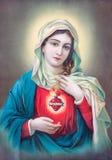 Typisches katholisches Bild des Herzens von Jungfrau Maria von Slowakei stockfotos