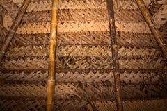 Typisches rustikales Deckendach in der Hüttenkabine Amazonas Stockbild
