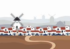 Typisches spanisches Dorf La Mancha mit Windmühlen in der Hintergrundlandschaft Straße aus den Grund im Vordergrund stock abbildung