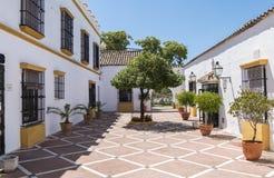 Typisk Andalusian borggård i Spanien Royaltyfri Bild
