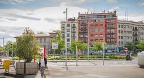 Typisk arkitektur för bostads- byggande av Irun, Spanien fotografering för bildbyråer