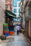 Typisk bakgata i Kowloon, Hong Kong Fotografering för Bildbyråer