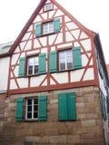 Typisk bayerskt fachwerkhus, Furth, Tyskland Arkivbild