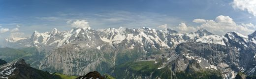 Typisk Bernese Skotska högländernapanorama med framträdande Jungfrau, Monch och Eiger maxima royaltyfri bild