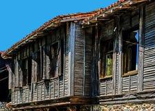 Typisk bulgarisk träarkitektur Arkivfoto