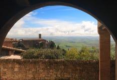 Typisk Chiantilandskap, Tuscany, Italien Royaltyfria Foton