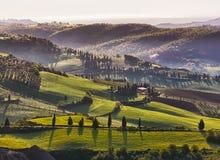 Typisk Chiantilandskap, Tuscany, Italien Arkivbilder