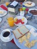 Typisk costaricien frukosten med den Gallo pintoen arkivbild