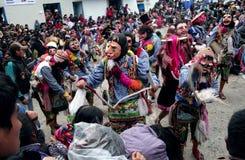 Typisk dans av Paucartambos religiösa festival av Virgen del Spårvagnsförare royaltyfria foton
