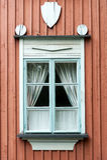 Typisk finlandssvenskt fönster Royaltyfria Bilder