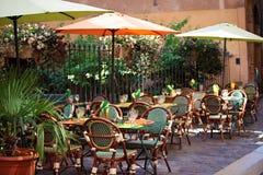 Typisk fransk restaurangplats Arkivfoto