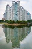 Typisk gods för Singapore highriseallmännyttan bredvid floden fotografering för bildbyråer