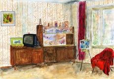 Typisk inre sovjetisk lägenhet vattenfärg Arkivbild