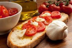 typisk italienskt mellanmål för bruschetta Royaltyfria Bilder