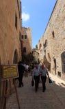 Typisk judisk fjärdedelgata, Jerusalem Royaltyfria Foton