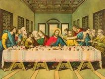 Typisk katolsk bild som den sista kvällsmålet skrivev ut i Tyskland från slut av 19 cent Royaltyfria Bilder