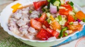 Typisk maträtt för rå fisk, ceviche royaltyfria bilder