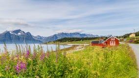 Typisk skandinaviskt landskap med en fiskares stuga along Arkivfoto