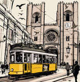 Typisk spårväg i Lissabon nära Se-domkyrka stock illustrationer
