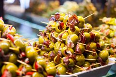 Typisk spansk matmarknad. royaltyfria bilder