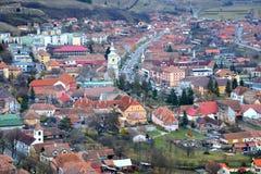 Typisk stads- landskap i stadsRupea-Repsna Arkivfoto