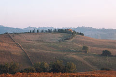 Typisk Tuscan kulle med ett hus Arkivbild