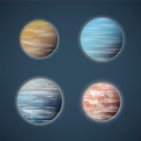 Typisk uppsättning för utrymmeplanet- eller planetoidsvektor stock illustrationer