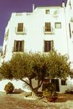 Typisk vitt medelhavs- hus, i byn av Cadaques, nolla Royaltyfri Foto