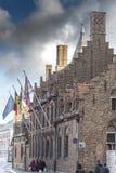 Typiska byggnader i Bruges Arkivbild
