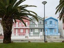 Typiska hus av Costa Nova, Aveiro, Portugal Arkivbild