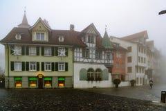 Typiska hus i St Gallen Arkivfoto