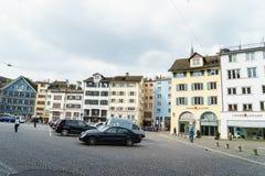 Typiska hus i Zurich Arkivfoto