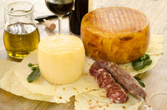 Typiska livsmedelsprodukter från Sardinia Arkivfoto