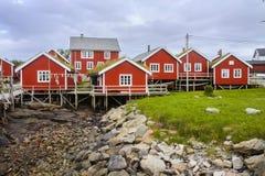 Typiska röda trähus på kusten av Finland Arkivbilder