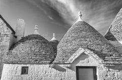 Typiska trullibyggnader i Alberobello, Apulia, Italien Arkivfoton