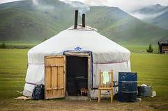 Typiska Yurt i Mongoliet Fotografering för Bildbyråer
