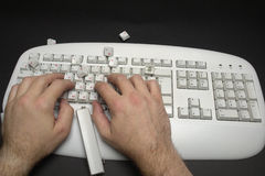 Typist breaking keyboard Stock Image