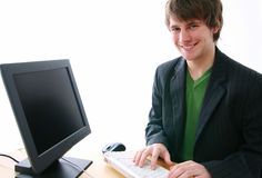 Typist smile Royalty Free Stock Photos