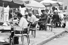 Typisten aan het werk in Rabat, Marokko Stock Afbeeldingen