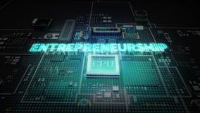 Typo 'предпринимательство' Hologram на цепи обломока C.P.U., растет технология искусственного интеллекта бесплатная иллюстрация