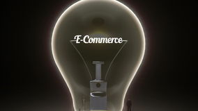 Typo 'E commerce' in light bulb and surrounded businessmen, engineers, idea concept version (included alpha)