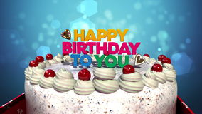 Typo 'Happy Birthday to you' on cake.(included alpha). Typo 'Happy Birthday to you' on cake stock footage