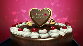 Typo 'Happy Valentines Day' on cake.(included alpha). Typo 'Happy Valentines Day' on cake stock video