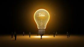 Typo 'idé' i den ljusa kulan och omgivna affärsmän, teknikerer, idébegrepp