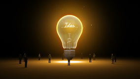 Typo 'Idea' in light bulb and surrounded businessmen, engineers, idea concept. stock footage